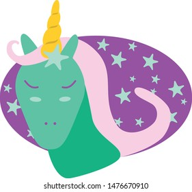 Lovely green unicorn mermaid. Cartoon style isolated on white background.