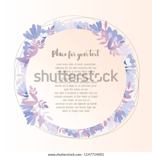 Lovely greeting card with floral round frame with place for text. Vector illustration