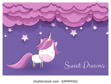 "a lovely greeting card with a hand drawn unicorn among stars and fluffy pink clouds on violet background, and an example text message ""sweet dreams""; imitation of paper art; vector illustration"