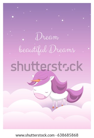 Lovely greeting card hand drawn unicorn stock vector royalty free a lovely greeting card with a hand drawn unicorn among stars and clouds and an example m4hsunfo