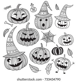 Lovely Halloween set of cute pumpkins in hat in boho style. Coloring page