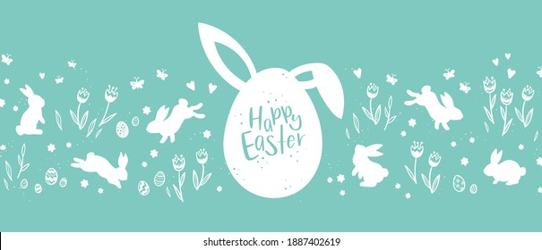 Lovely hand drawn Easter design with bunnies, eggs, flowers and butterflies, great for cards, banners, wallpapers, invitation, cover images - vector design