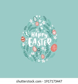 Lovely hand drawn Easter design with decorative elements, doodle style, great for cards, banners, wallpapers, invitations - vector design