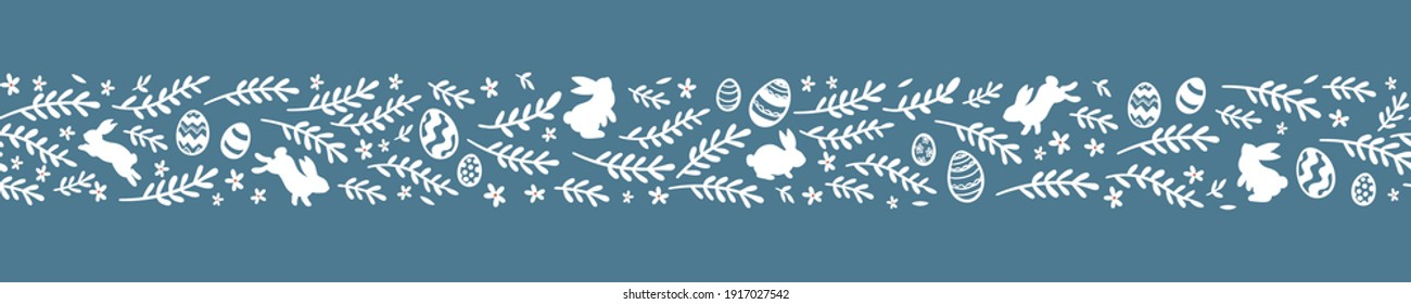 Lovely hand drawn Easter horizontal seamless pattern, cute doodle eggs, great for textiles, banners, wallpaper, wrapping - vector design