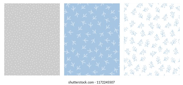 Lovely Hand Drawn Floral and Dots Abstract Vector Patterns. Light Blue, Grey and White Backgrounds. Tiny White and Blue Delicate Twigs and Circles. Cute Simple Abstract Graphic. Irregular Design.