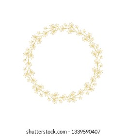 Lovely Hand Drawn Gold Elegant Twigs Isolated on a White Background.Round Shape Vector Branch Frame. Vintage Style Delicate Gold Sketched Floral Wreath. Illustration Without Text.Floral Decorative Art