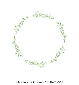 Lovely Hand Drawn Green Elegant Twigs Isolated on a White Background. Round Shape Vector Branch Frame. Vintage Delicate Green Sketched Floral Wreath. Illustration Without Text. Floral Decorative Art.