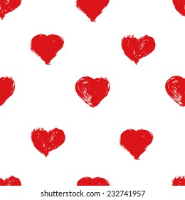 Lovely hand drawn hearts. Seamless background. Vector
