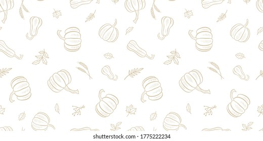 Lovely hand drawn pumpkin seamless pattern, great for Thanksgiving and Halloween textiles, banners, wallpapers, wrapping - vector design