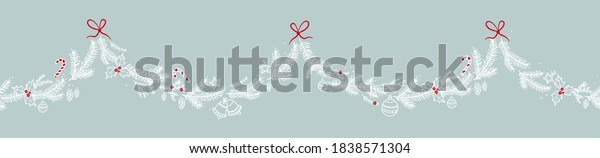 Lovely hand drawn seamless christmas garland with branches and decoration, great for banners, wallpapers, cards - vector design
