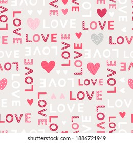Lovely hand drawn Valentine's Day seamless pattern with hearts, fun background great for banners, wallpapers, textiles, wrapping - vector design