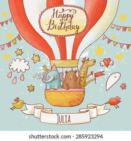 Lovely happy birthday card in bright summer colors. Sweet animals: elephant, bear and giraffe in air balloon in the sky. Awesome personalized childish background in vector