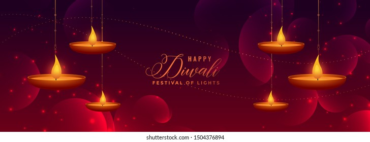 lovely happy diwali shiny banner with hanging diya