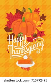 Lovely 'Happy Thanksgiving' poster or greeting card template with retro lettering and harvest season decorative items