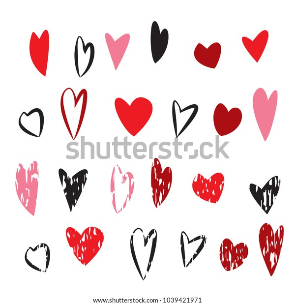 Lovely hearts Grunge red and pink hand drawn heart set. Valentine's day and wedding card  vector illustration.