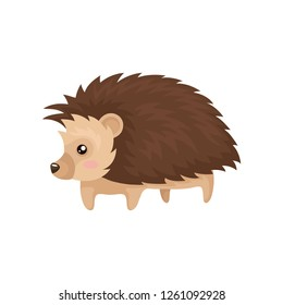 Lovely hedgehog prickly animal cartoon character vector Illustration on a white background