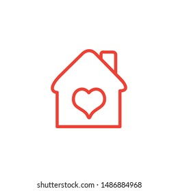 Lovely Home Line Red Icon On White Background. Red Flat Style Vector Illustration.
