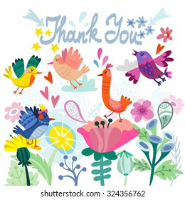 """Lovely illustration of flowers and birds and hand drawn letters """"thank you"""", cute and stylish template for your design."""