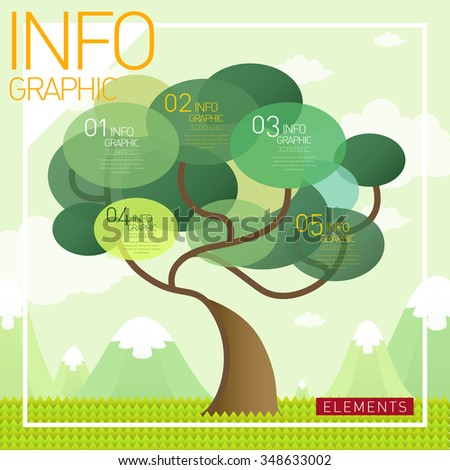 Lovely Infographic Template Design Tree Element Stock Vector