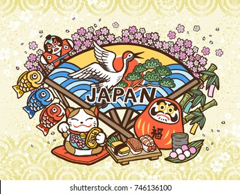 Lovely Japan concept illustration, hand drawn style with traditional symbol collection, fortune word in Japanese on the red daruma