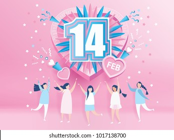 lovely joyful women. Valentine's day Celebration on big pink heart with text 14 February design for Valentine's day festival. love pink background. Vector illustration.paper art style.