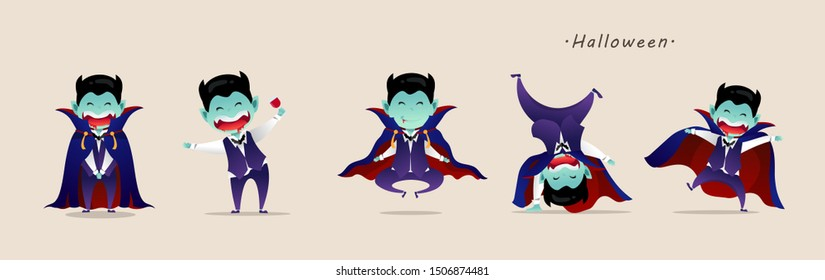 Lovely Kids in Halloween Dracula costumes.  Dracula kid characters. Funny and cute carnival kids set. Halloween cartoon Vector illustration.