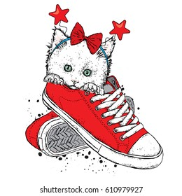 Lovely kitten in sneakers with a festive rim on his head. Vector illustration for a postcard or a poster.
