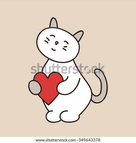 Lovely Kitty Day St Valentine Heart Stock Vector Royalty Free
