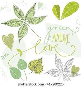 Lovely Leaf Nature Love Green Art Vector Illustration