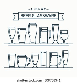 Lovely linear flat design vector beer glassware set | Various types of beer glasses, mugs and goblets in trendy outline style featuring stout, lager, porter, ale, pilsner and other beer glasses