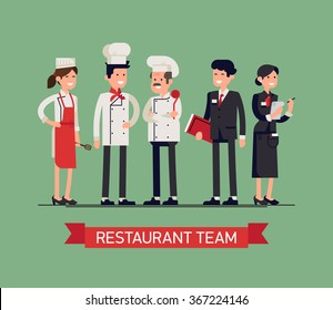 Lovely line-up group of restaurant staff characters in trendy flat design, vector. Chef, assistants, manager or host, waitress or hostess. Catering professionals team personages