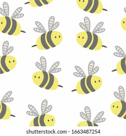 Lovely, little bees. Geometric seamless pattern on a white background. For printing on children's textiles, wallpaper in the room, covers and gift wrapping. Vector illustration.