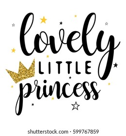 lovely little princess typography vector.