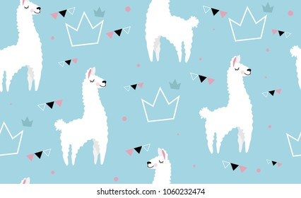 Lovely llamas, cute hipster pattern for children's cloth with lamas and crowns. Linear style, cartoon character llama.