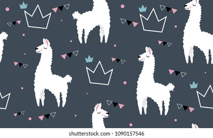 Lovely llamas, cute hipster pattern for children's cloth with lamas and crowns on a gray background. Linear style, cartoon character llama.