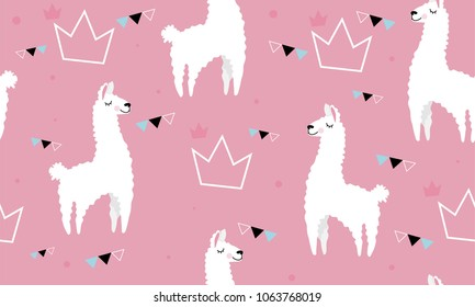 Lovely llamas, cute hipster pink pattern for children's cloth with lamas and crowns. Linear style, cartoon character llama.