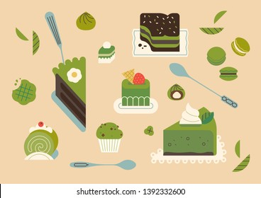 Lovely matcha green powder tea based recipe desserts flat design illustration with cakes, cookies, biscuits and other sweets