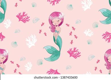 Lovely mermaid underwater pattern design