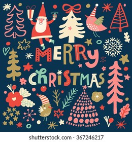 Lovely Merry Christmas card in vector. Santa, birds and fir trees in cartoon style. Bright background with holiday symbols