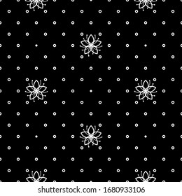 Lovely monochromatic floral seamless pattern with small flowers and dots on black background. Simple line illustration for textile, wrapping paper, fabric. Vector backdrop