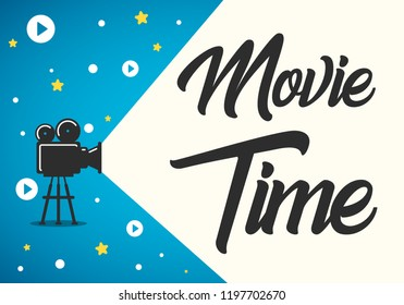 Lovely movie time concept layout with film projector and text area with sample title in retro western font. Cool cinema poster, leaflet or banner template with detailed retro projector with film reels