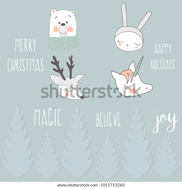Lovely New Year Stickers Picture Deer Stock Vector (Royalty