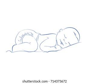 Lovely Newborn Sleeping Vector. Little Sleeping Child. Cute Baby Contour Sketch, Hand Drawn.