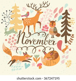 Lovely November concept card with awesome animals and birds in vector. Autumn background with deer, owl, rabbit, foxes and squirrel in bright colors