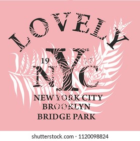 lovely nyc palm leaf graphic design vector art