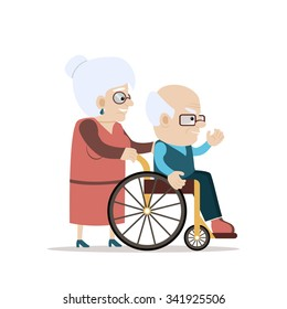Lovely old couple - senior woman pushing wheelchair with disabled old bald man waving his hand. Flat vector characters on isolated background. Concept for growing old together or happy retiring.