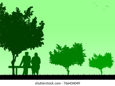 Lovely old couple sitting on bench in park, one in the series of similar images silhouette