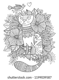 Lovely outline illustration with a cat and flowers. Perfect for coloring book or page for kids or adults.
