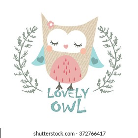 lovely owl illustration graphic vector. watercolor illustration  young and happy, t-shirt graphics, posters, party concept, textile graphic, cute illustration for apparel or other uses