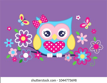 Lovely owls and wreaths vector illustration